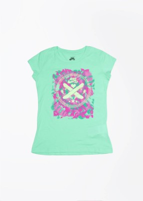 Nike Action Printed Girl's Round Neck Green T-Shirt