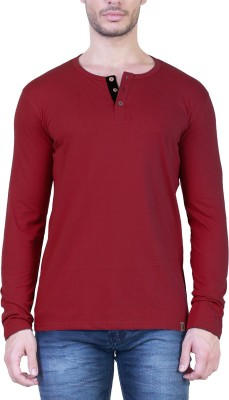 Unkonventional Solid Men's Henley Maroon T-Shirt