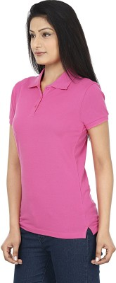 Wills Lifestyle Solid Women's Polo Pink T-Shirt