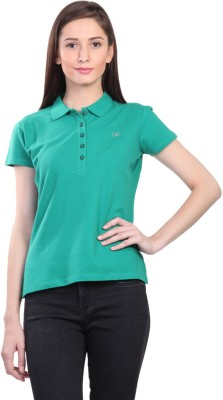 Kidley Solid Women's Polo Neck Green T-Shirt