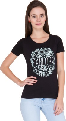 Alibi Printed Women's Round Neck Black T-Shirt
