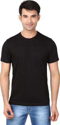 Essentiele Solid Men's Round Neck Black T-Shirt
