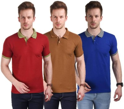 Stylogue Solid Men,s Polo Neck Multicolor T-Shirt