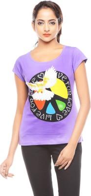 Trendy Girlz Printed Women's Round Neck Purple T-Shirt