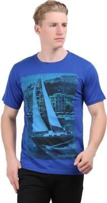Stylefox Graphic Print Men's Round Neck Blue T-Shirt