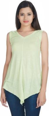 Defossile Solid Women's V-neck Light Green T-Shirt