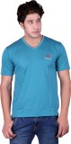 Sellsy Solid Men's V-neck Blue T-Shirt