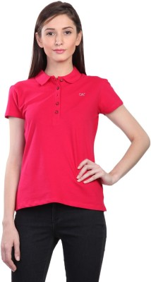Kidley Solid Women's Polo Neck Pink T-Shirt