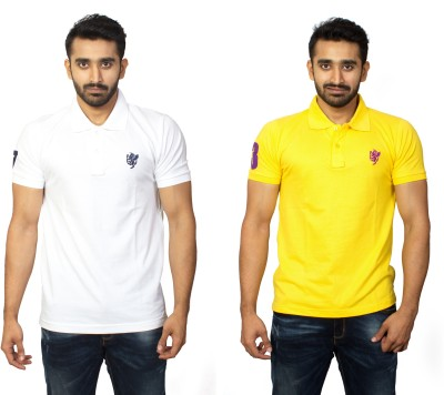 1OhOne Solid Men,s Polo White, Yellow T-Shirt