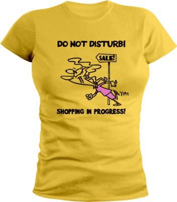 Sleeve Up Graphic Print Women's Round Neck Yellow T-Shirt