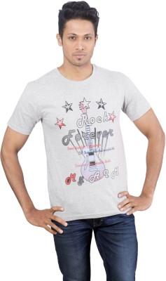 Oviyon Printed Men's Round Neck Grey T-Shirt