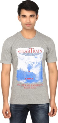 Strak Printed Men's Round Neck Grey T-Shirt