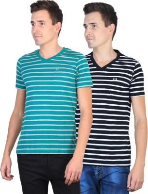 Duke Striped Men's V-neck Blue, Black T-Shirt