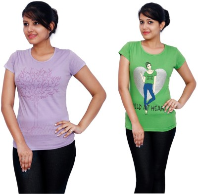 Fine Colors Printed Women's Round Neck Purple, Green T-Shirt