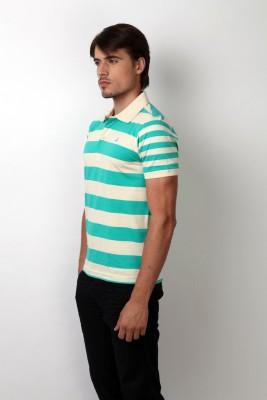 Bombay High Striped Men,s Polo Green, White T-Shirt