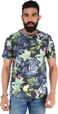 Download Apparel Floral Print Men,s Round Neck Black, Green T-Shirt