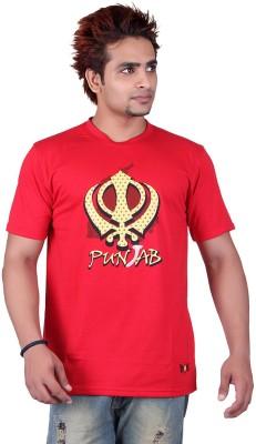 Punjabi Heritage Solid Men,s Round Neck T-Shirt