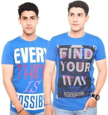 Zwizdot Printed Men,s Round Neck Blue, Blue T-Shirt