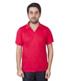 FastFox Solid Men's Polo Neck Red T-Shir...