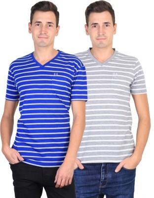 Duke Striped Men's V-neck Blue, Grey T-Shirt
