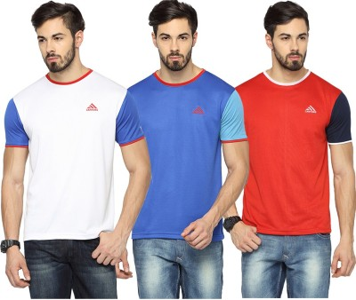 Canyons Solid Men's Round Neck White, Blue, Red T-Shirt