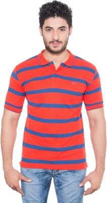 Fabilano Striped Men's Polo Neck Orange, Blue T-Shirt