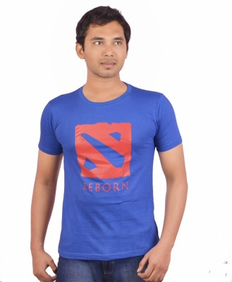 Indrow Printed Men's Round Neck Blue T-Shirt