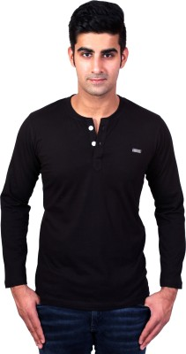 Bridge Solid Men's Henley Black T-Shirt