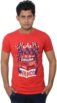 Lampara Printed Men's Round Neck Red T-Shirt