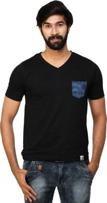 0EM Solid Men's V-neck Black T-Shirt