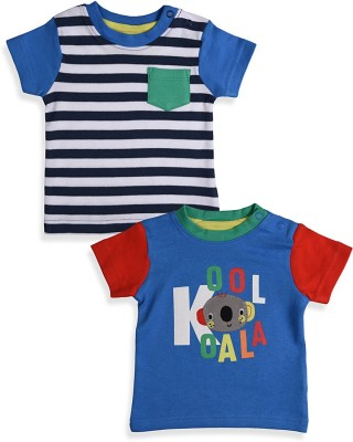 Mothercare Striped Baby Boy's Round Neck White, Blue T-Shirt