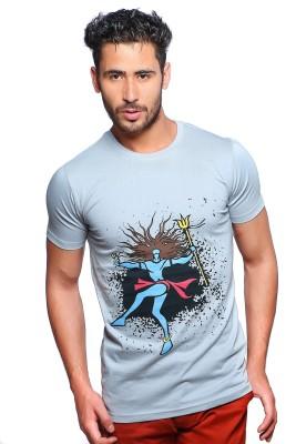 Nucode Graphic Print Men's Round Neck Light Blue T-Shirt