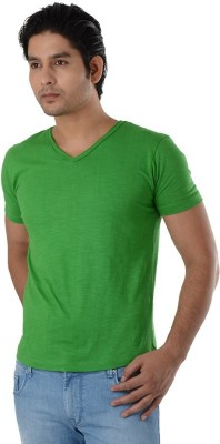 Integriti Solid Men's V-neck Green T-Shirt