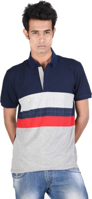 Juene Solid Men's Polo Neck Blue, Grey, Red T-Shirt