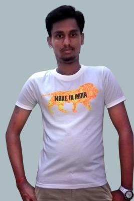 Zwizdot Self Design Men,s Round Neck White T-Shirt