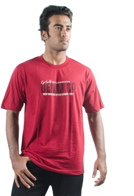 0-Degree Solid Men's Round Neck Maroon T-Shirt