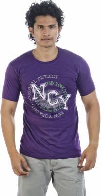 Adventure Printed Men's Round Neck Purple T-Shirt