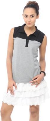 Unicolr Solid Women's Polo Neck Grey, Black T-Shirt