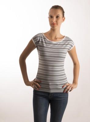 Bombay High Striped Women,s Round Neck Blue T-Shirt