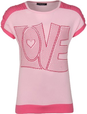 Cool Quotient Printed Girl's Round Neck Pink T-Shirt