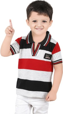 Yellow Dots Striped Boy's Flap Collar Neck T-Shirt