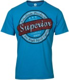 Huetrap Printed Men's Round Neck Blue T-...