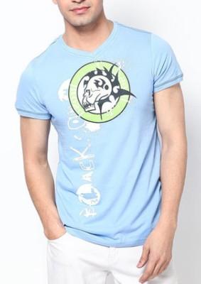 Blacksoul Solid Men's V-neck Light Blue T-Shirt