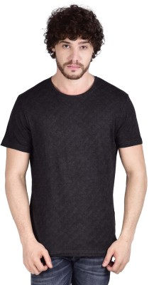 ADAMO ESSENTIALS Printed Men's Round Neck Black T-Shirt