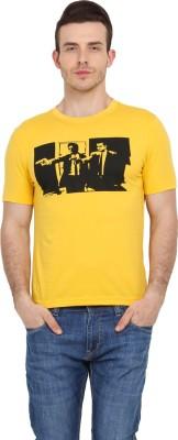 Filmwear Graphic Print Men's Round Neck Yellow T-Shirt