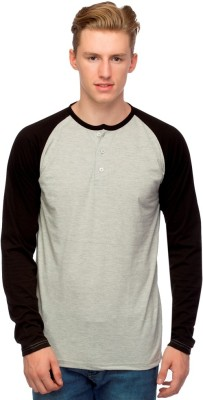 Martech Solid Men's Henley Grey, Black T-Shirt