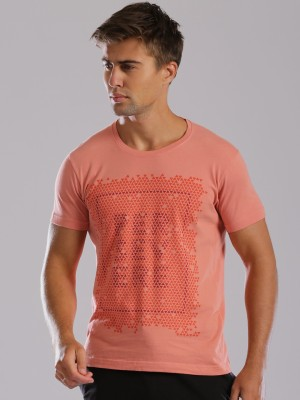 HRX by Hrithik Roshan Graphic Print Men's Round Neck Pink T-Shirt