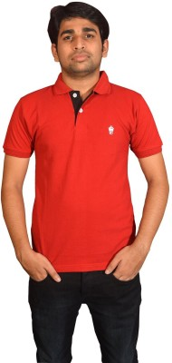 Friends United Solid Men's Polo Neck Red T-Shirt