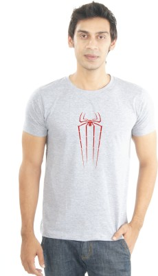 Lacrafters Graphic Print Men's Round Neck Grey, Red T-Shirt