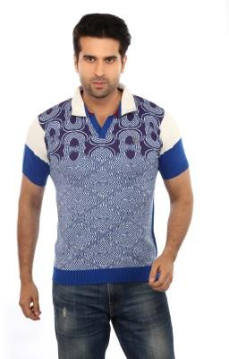 GOT IT Graphic Print Men's Mandarin Collar Blue T-Shirt